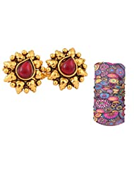 Maroon Stone Studded Floral Golden Toe Ring For Women