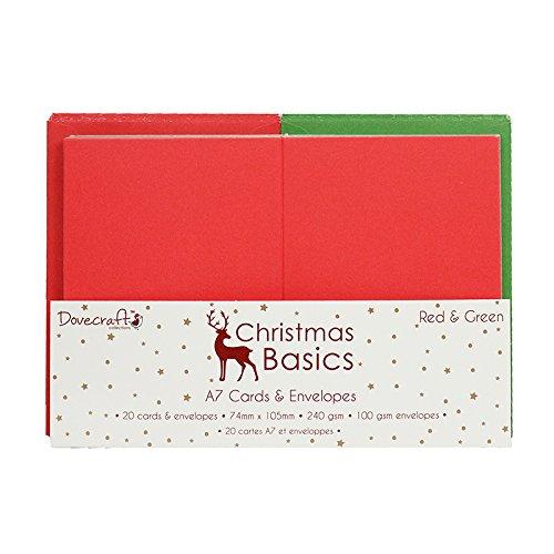 Dovecraft Basics Mini-Natale Biglietti e Buste, Carta, colore: rosso/verde