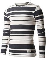 FLATSEVEN Homme Slim Fit Rayé à Manches Longues T-shirt