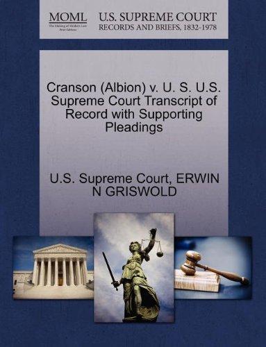 Cranson (Albion) v. U. S. U.S. Supreme Court Transcript of Record with Supporting Pleadings