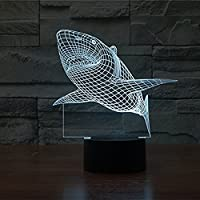 eNice-UK Shark 3D Optical Illusion 7 Colors changing Desk Table Light night light lamp by eNice-UK