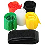 BestOfferBuy 6PCS Cable Wire Cord Organizer Holders Nylon Ties Velcro Marker Straps