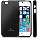 Caseology Apple iPhone 5 / 5S [Saffiano Hybrid Series] - Premium Matte Leather Shock Absorbent TPU Bumper Case (Black) [Made in Korea] (for Verizon, AT&T Sprint, T-mobile, Unlocked)