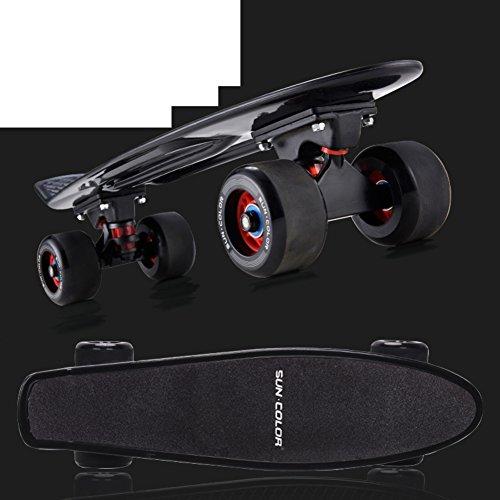fish-child-banana-big-wheel-adult-walking-four-wheeled-skateboard-fish-long-highway-transport-board-