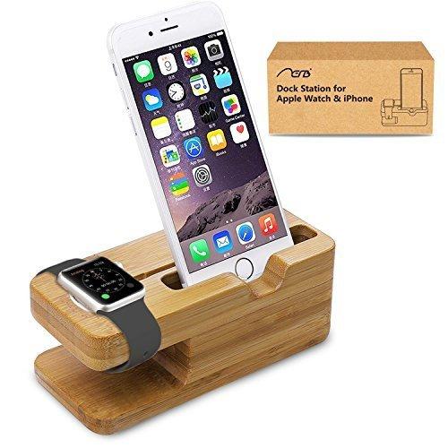 Apple Watch stand, Aerb iWatch di legno di bambù di ricarica della staffa del basamento della stazione di aggancio della culla del supporto per Apple Watch e iPhone 5 / 5S / 5C / 6/6 PLUS / 6S / 6S Plus
