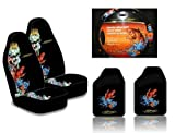 Ed Hardy Koi Fish Seat Covers, Floor Mats, Steering Wheel Cover 5-pc Set