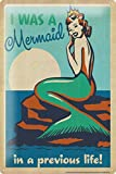 "Retro Tin Sign Wall Decor Plate Mermaid Rock Metal Wall Plate 8X12"""