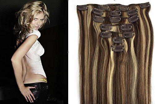 """Echthaar Haarverdichtung Clip in Remy Haar Extensions Erganzungsset 15""""/70g/7pcs/set #4/#613-dunkelbraun/hellste Blondine"""