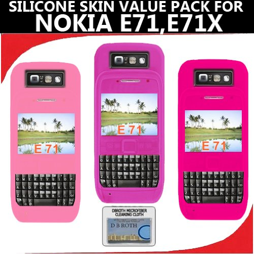 Silicone Skin 3 pc. Value Pack for your Nokia E71, E71x (Purple, Light Pink, Hot Pink) Bonus DBRoth Microfiber Cleaning Cloth Included
