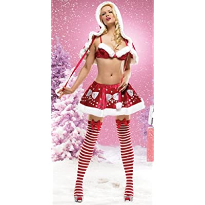 Sexy Costumes: Hot Babes in Two Piece Miss Santa Fur Trimmed Bra Top & Glimmer Print Skirt