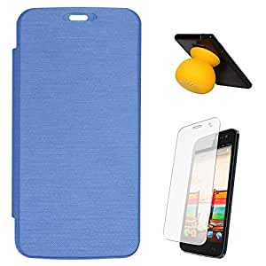 DMG PU Leather Premium Flip Cover Case for Micromax Canvas 2.2 A114 (Blue) + Bluetooth Suction Stand Speakers + Matte Screen