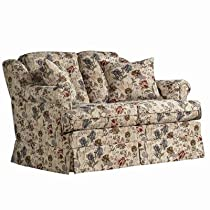 Big Sale Charles Schneider English Acorn Fabric Loveseat with Accent Pillows