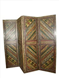 Antique Solid Wood Hand Painted Screen 4 Panels