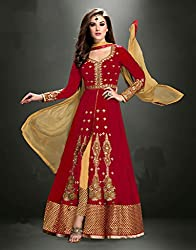 Maruti Creation Women's Georgette Semi-stitched Anarkali Suit Dress Material (MC1002_FREE_SIZE_RED)