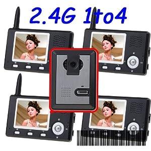 4 in 1 Digital Wireless 2.4GHz 3.5 inch TFT LCD screen Camera Video Audio Door Phone INTERCOM HOME + 4 Receivers