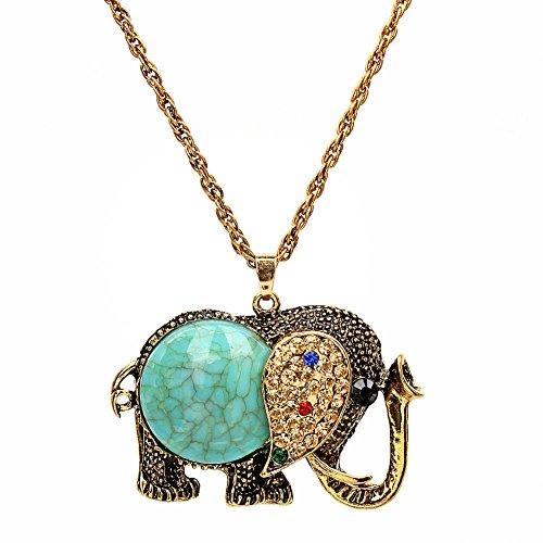 Yiwa Women's Elephant Shape Pendant Sweater Chain Necklace