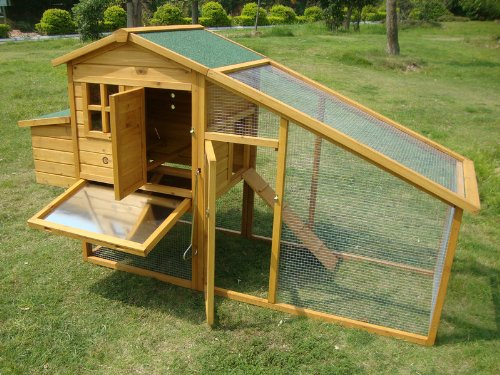 LARGE 7FT COCOON CHICKEN COOP HEN HOUSE POULTRY ARK NEST BOX RABBIT HUTCH NEW - LARGE COOP WITH INNOVATIVE LOCKING MECHANISM - PERSPEX WINDOWS - REAR VENT HOLES - CLEANING TRAY - SECURE NEST BOX FLOOR