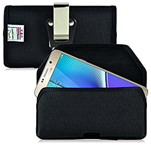 Note 5 Belt Clip Case, Turtleback Galaxy Note 5 Holster, Black Nylon Pouch with Heavy Duty Rotating Belt Clip, Horizontal Made in USA