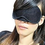 La Vogue Masque de Sommeil Shade Eye Eponge Maille Sans Couture Sans Stress Anti-Lumière Voyage Repose Taille 18*9.5cm Noir