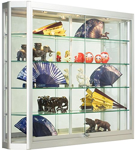 Silver Aluminum Glass Display Cabinet, 47-1/4 x 39-1/2 x 8-Inch, That Is Illuminated, Wall-Mounted, Has Locking Sliding Glass Doors, And Ships Fully Assembled (Wall Mounted Glass Cabinet compare prices)