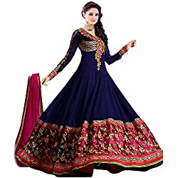 Prachi Silk Mills Women`s Georgette Embroidered Semi-stitched Salwar Suit Dupatta Material(Royal Blue Anarkali)