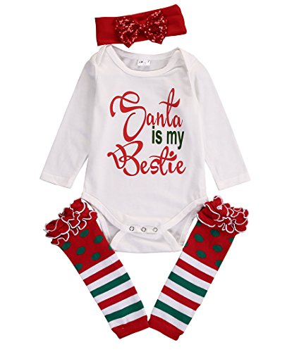 4PCS Baby Christening Clothing Sets Xmas Bodysuit Romper +Headband + Leg Warmers (9~12months, white)