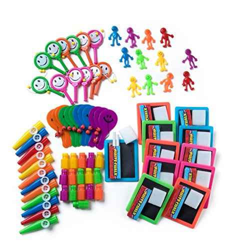 Neon Party Favors Toy Assortment, 72 Pc Bulk Assortment of Kids Toys & Prizes for Party Favor Bags, Educational Toys, School Classrooms, Carnival, Stocking Stuffers, Pinatas, Kids Wedding Activities