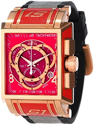 Invicta Men's 11690 S1 Chronograph Red Dial Black Polyurethane and Grey Nylon Watch