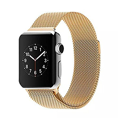 Apple Watch Band,LDFAS Stainless Steel Replacement Apple iWatch Band Milanese Loop Accessories For 42mm Apple Watch All Models - Gold