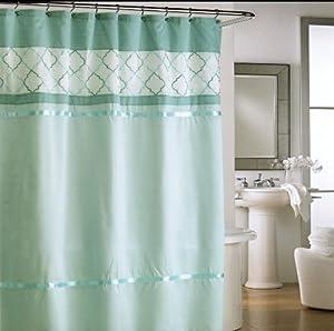 Cynthia rowley lattice fabric shower curtain for Quatrefoil bathroom decor