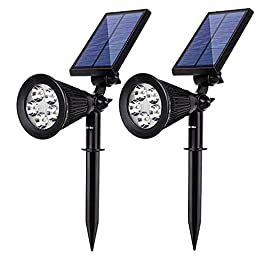 Albrillo 5 LED Solar Powered Spotlight Landscape Lights Outdoor Waterproof Wall Security Sensor Lighting for Patio Garden Lawn 2 Pack