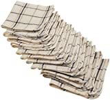 Excello Waffle Weave Dish Cloth, Natural and Black Plaid, Set of 12