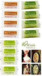 Miracle Noodle Variety Pack : 12 Bags (Includes 4 Shirataki Angel Hair, 4 Shirataki Rice & 4 Shirataki Fettuccini)