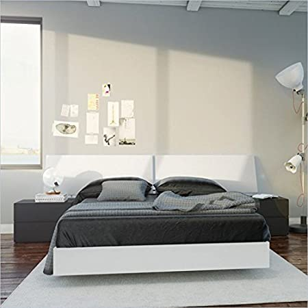 Nexera Melrose 4 Piece Full Bedroom Set in White and Black