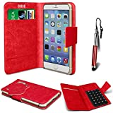 N4U Online® - Nokia Asha 300 Red PU Leather Suction Pad Wallet Case Cover & Mini Stylus Pen