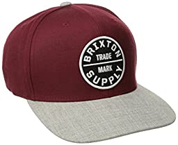 Brixton Men\'s Oath III Snap Back, Burgundy/Light Heather Grey, One Size