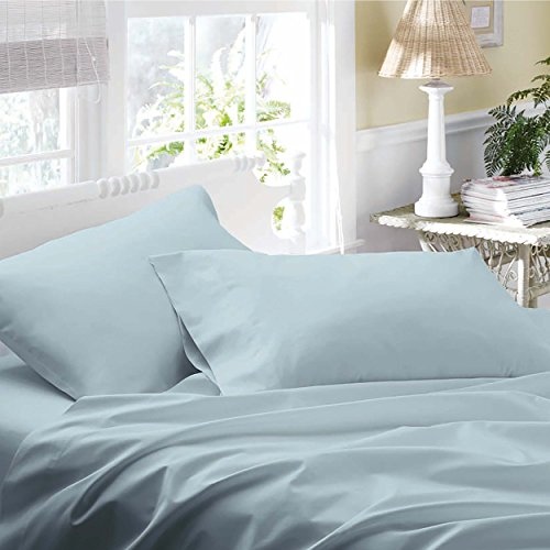 Laura Ashley Cotton Sateen Sheet Sets, King, Sky front-922799