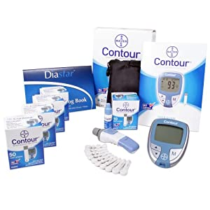 Bayer Contour Test Strips Value Bundle: Includes 4 Packs of Contour 50-count Test Strips,1 Contour Meter, and 1 30 Day Glucose Log Book, Lancet Device and Generic Lancets
