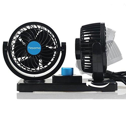 Yesorno Dual Head Wind Vehicle Car Air Fan with 360 Degree Rotation ,12V,Black