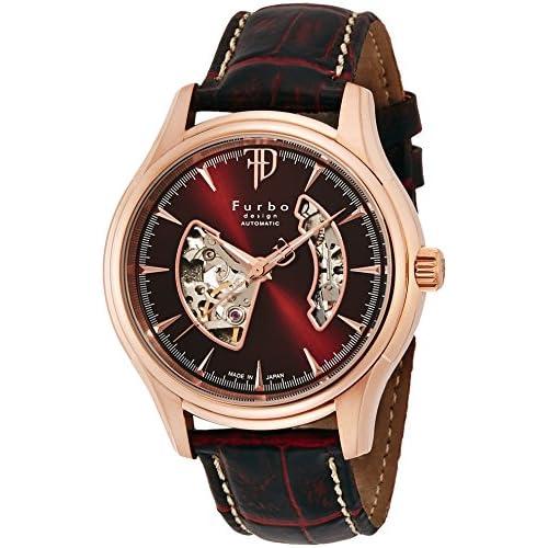 [フルボデザイン]Furbo design 腕時計 自動巻き F5025 日本製 ブラウン ピンクゴールド 茶革 F5025PBRBR メンズ
