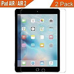 Supone iPad Air Air 2 Glass Screen Protector, 2 Pack 9H hardness Hd Clear film Ultra Thin Guard Anti-bubble Tempered Glass Screen Protector For Apple iPad 5 6