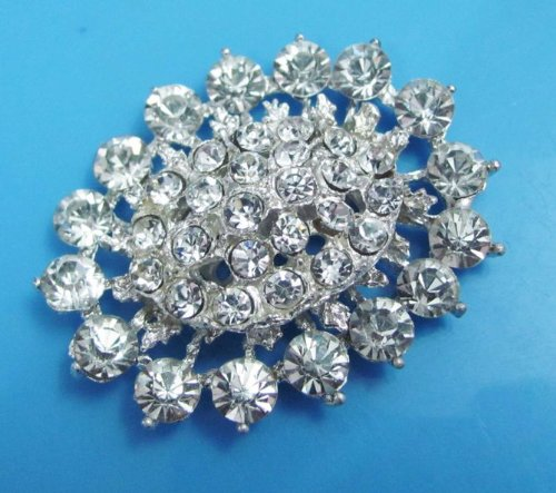 Crystal Silver Metal Brooch Appliques Shoe Patch Craft