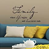"Family where life begins and love never ends 12.5"" h x 23"" w vinyl lettering wall sayings art decor decal sticker word"
