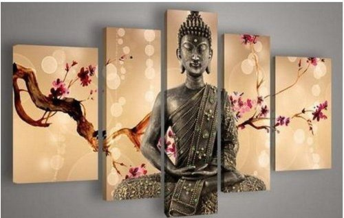 Neonphoenix Christmas Holiday Gift 100% Hand Painted Fashion Style Five Panels Sacred Buddha Modern Canvas Oil Paintings 5-pieces Abstract Landscape for Living Room Home