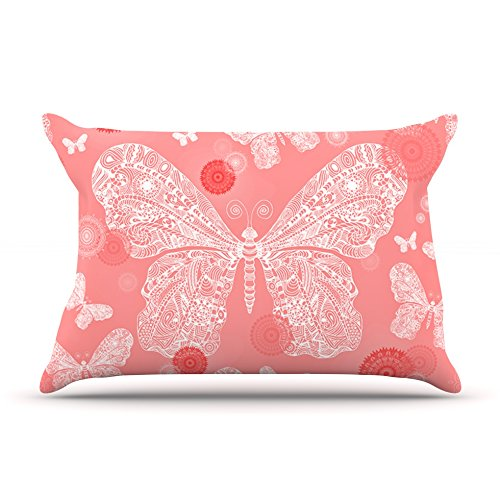 "Kess Inhouse Monika Strigel ""Butterfly Dreams Coral"" Pink White Standard Pillow Case, 30 By 20-Inch front-944075"