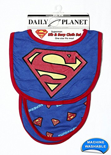 DC Superhero Bib and Burp Cloth Set for Boys and Girls