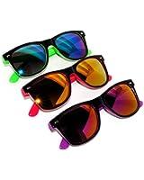 New Fashion Retro 2 Tone Vintage Wayfarer Sunglasses Mirror Lens 3 Pack