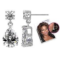 Celebrity Earrings - Pear Drop Clear CZ Earrings