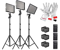 Aputure Amaran AL-528KIT(AL-528S + AL-528W*2) 528 Led Video Light Panel Studio LED Lighting Kit with Light Stand, Sony NP-F960 Battery Pack and Pergear Clean Kit