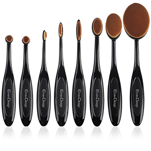 EmaxDesign Makeup Brushes 8 Pieces Oval Makeup Brush Set Professional Foundation Concealer Blending Blush Liquid Powder Cream Cosmetics Brushes, Toothbrush Curve Makeup Tools For Face and Eyes